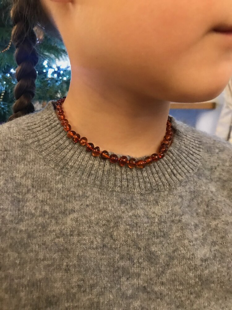 Polished Baroque style Cognac Colour Baby Amber Necklace
