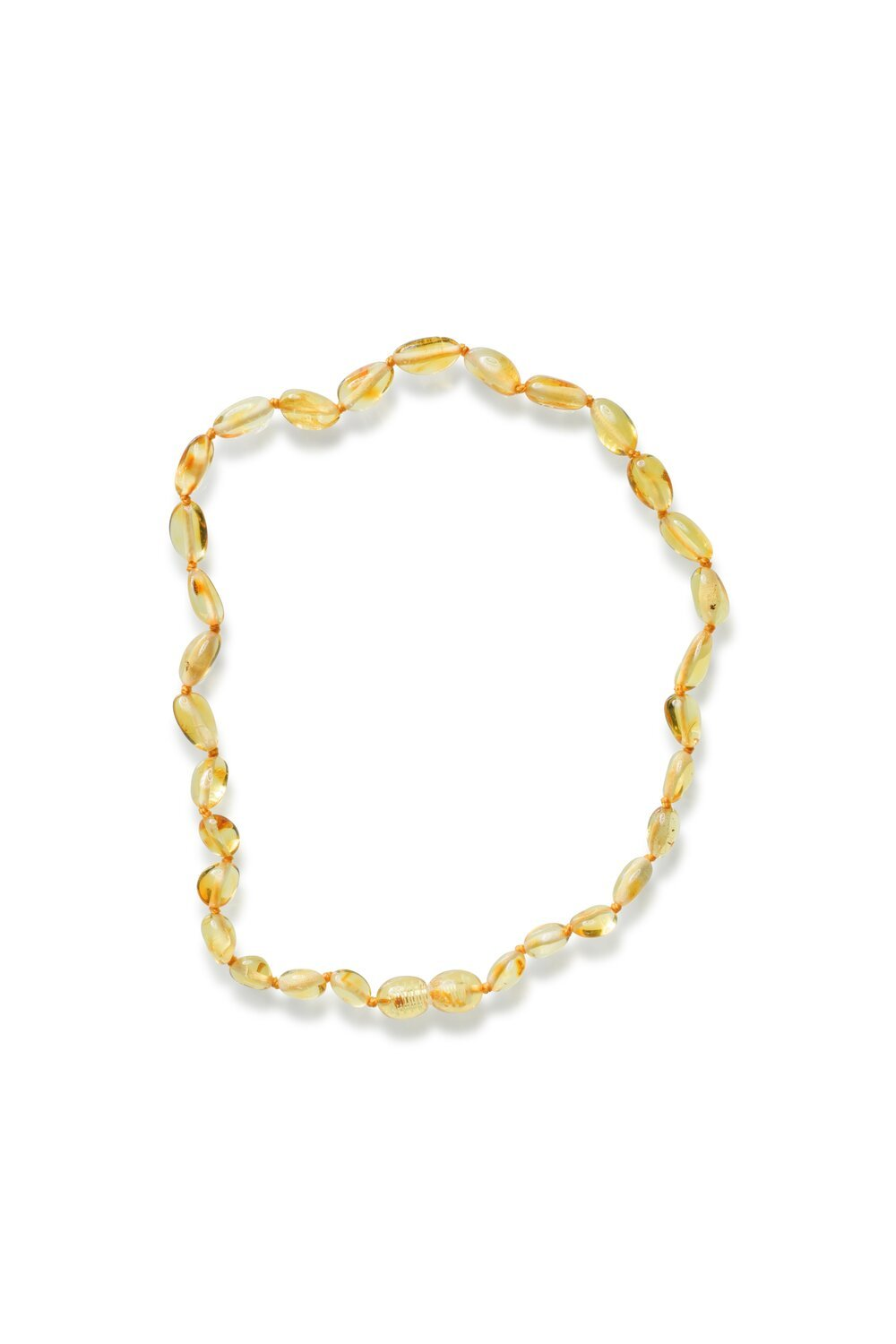 Polished Bean style Lemon Colour Baby Amber Necklace