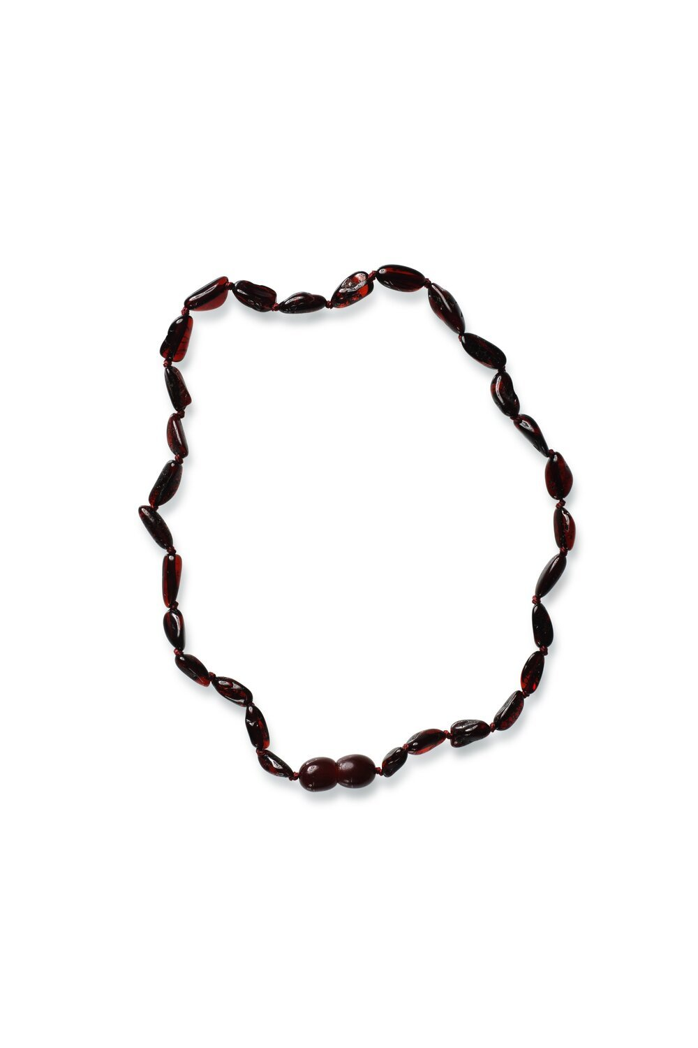Polished Bean style Cherry Colour Baby Amber Necklace