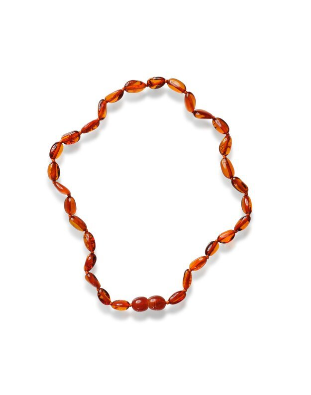 Polished Bean style Cognac Colour Baby Amber Necklace