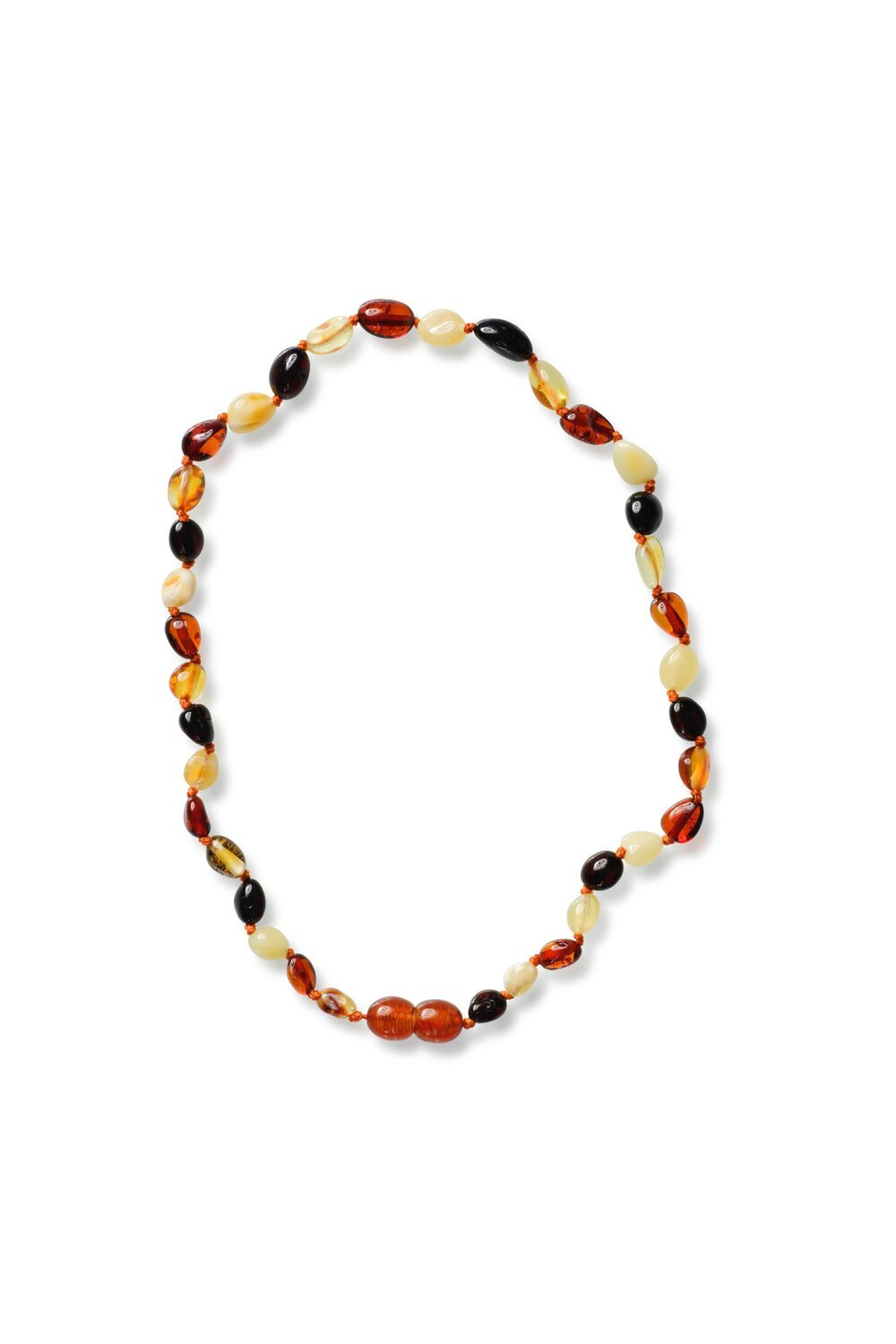 Polished Bean style Mixed Colours Baby Amber Necklace